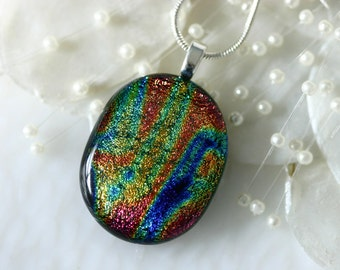 Dichroic Glass Pendant Necklace by Getglassy 010223