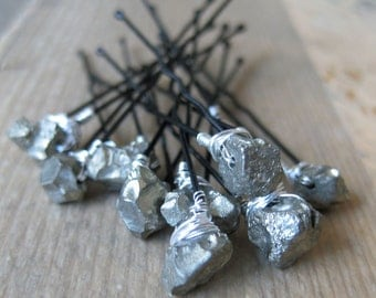 Natural PYRITE Crystal Bridal Hairpins 10 peices made to order