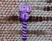 Purple Elephant weaving loom heddle hook - polymer clay