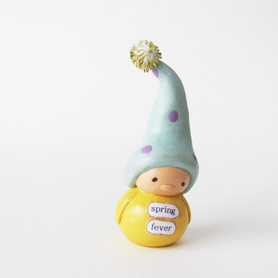 Sale! Clay Gnome Figurine- Miniature Art Sculpture by humbleBea- Spring Fever