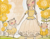 a whimsical watercolor painting of a mother with her daughters - an archival limited edition 8 x 10 inch print - by cori dantini