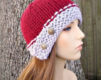 Knit Hat Womens Hat - Cloche Hat in Heather Grey and Cranberry Red Knit Hat - Red Hat Grey Hat Womens Accessories Winter Hat