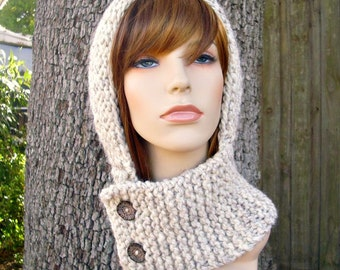 Knit Hat Womens Hat Knit Hood - Warrior Helmet Balaclava in Wheat Cream Knit Hat - Wheat Hat Cream Hat Womens Accessories