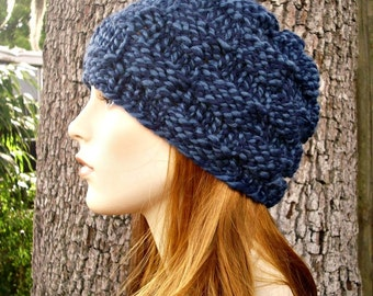 Knit Hat Womens Hat - Basket Weave Beanie in Twist Blue Knit Hat - Blue Hat Womens Accessories Winter Hat