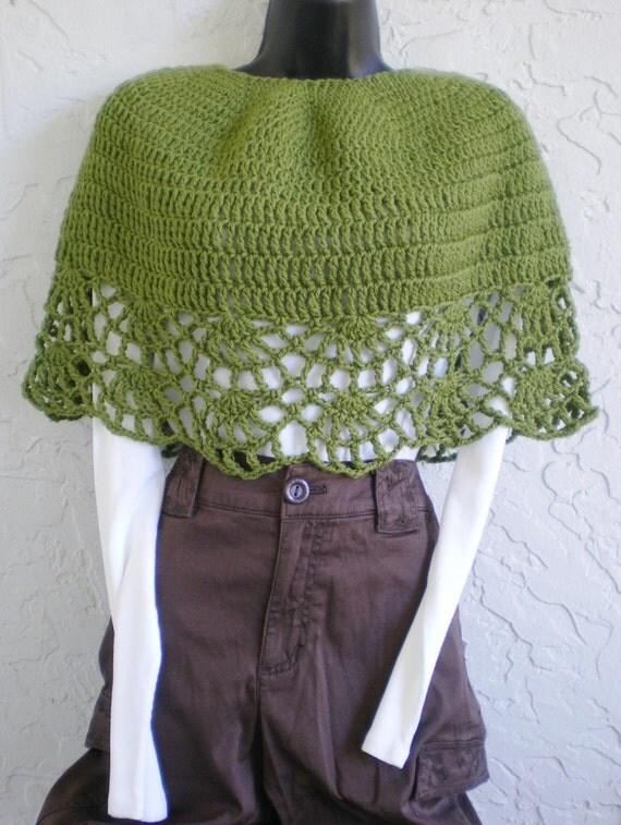 hand crochet capelet women shawl women poncho evening wrap woolblend  green capelet ~ shell border wrap ~  green small medium