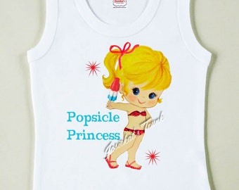 Popsicle Princess Shirt - Bathing Suit Tee - Custom Size - Retro Summer Pool Party Tank - Personalized Tank Top - Vintage Beach Tank