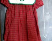 Vintage Red Plaid School Girl Dress- 3T, Embroidered Tulip Flower, White Bib Collar, Green Trim, Puffed Sleeves
