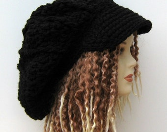 Oversized Dreadlocks Cap Visor Dread Tam Hat Hippie Slouchy Newsboy Beanie Black, large black newsboy cap dreadlocks, woman man dread cap
