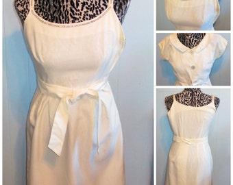 1950s  Dress & Bolero - White With Rhinestone Trim