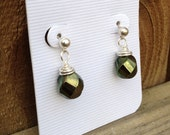 Wire wrapped green faceted earrings- hypoallergenic