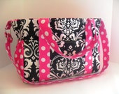 Diaper Bag - Black Damask with Pink - Extra Large Diaper Bag - Bags and Purses