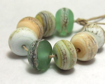 outer banks organic rounds handmade lampwork glass beads