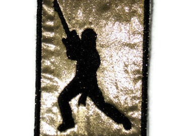 ACEO Rockin' Guitarist Metallic Gold Background - Patch
