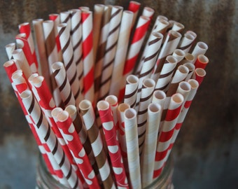 30 Country Party Straws- Western - Paper Straws, gingerbread, cookie-- Red, Chocolate, Cream -- Curious George, Rodeo