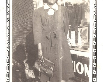vintage photo African American Lady by Drug Store Cigarette Ad Chesterfield 1940