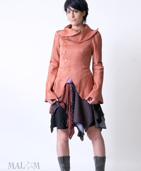 CUSTOM Pink Statement Jacket - Bustle Jacket in Pink - Assymetrical couture Coat