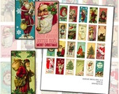24 Altered Art Christmas Images Domino tile digital collage sheet 1x2 inch 25mm x 50mm bah humbug