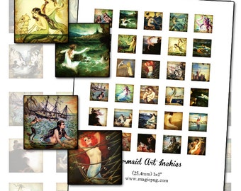 """Altered Art Mermaids Inchies digital collage sheet 1x1 1"""" 25mm square  fine art paintings 25.4mm"""