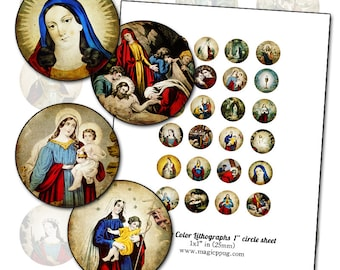 "Antique Religious Catholic Color Prints 1"" circle digital collage sheet 25mm round 25.4mm rounds"