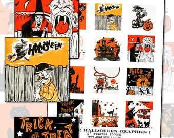 Vintage Halloween Graphics I digital collage sheet 2 inch square two 50mm for badge pinback button black orange cat witch jack o'lantern