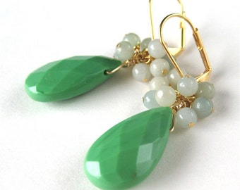 Spring Green Teardrop Earrings, Light Blue Cluster, Faceted Grass Green Drop, Gold Earrings, Handmade, Esme