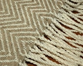 "Handwoven Throw Rug in White & Natural - 28 x 57"" - 50/50 cotton and local wool - Herringbone, Chevron"