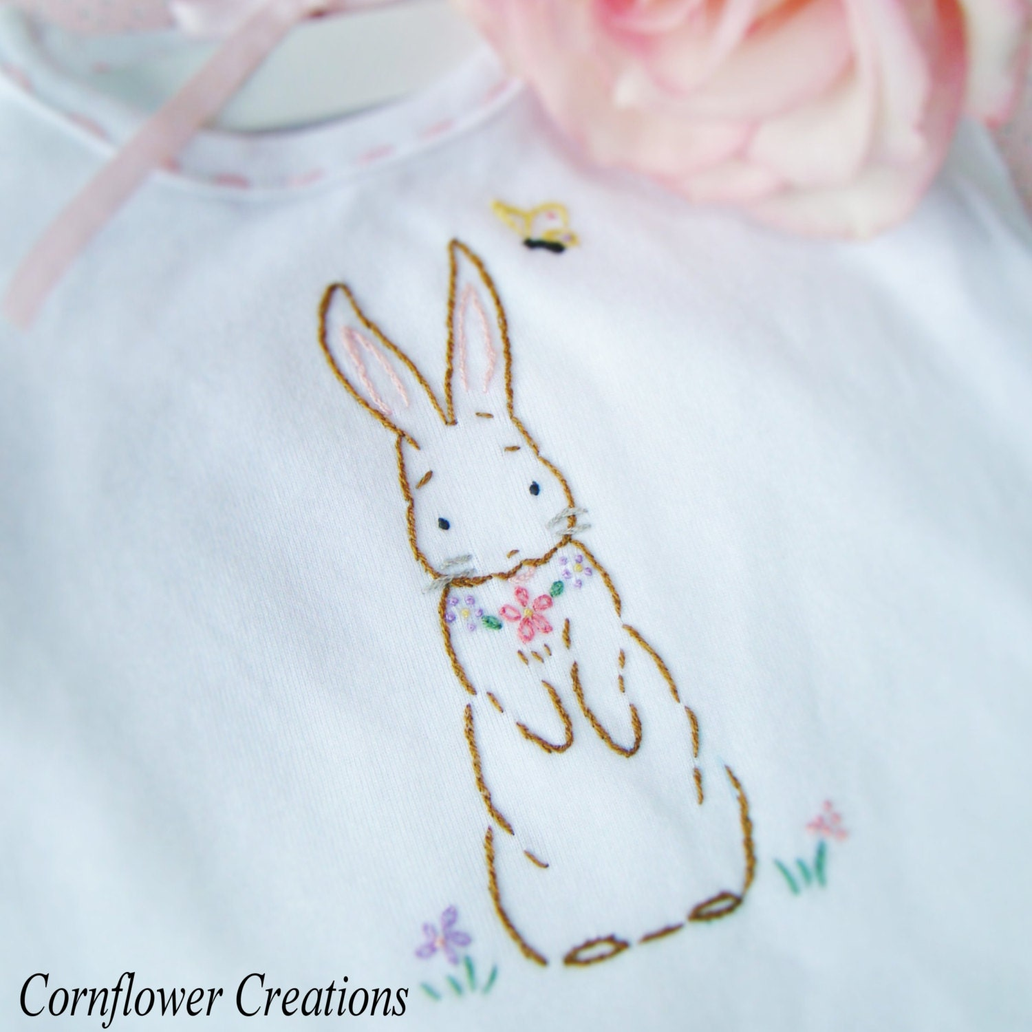 Meadow bunny hand embroidered baby girl dress