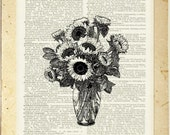 sunflowers dictionary page print