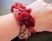 Bohemian knit Bangle Bracelet. Red. Brown. Textile bracelet. Boho Chic.