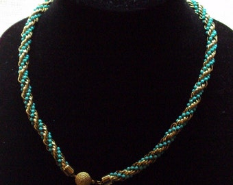 Vintage Avon Necklace  Fashion Accents  Turquoise & Gold Tone  Twisted Faux Beaded  Rope Necklace