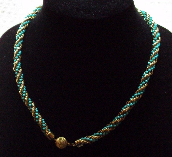 Vintage Avon Necklace / Fashion Accents / Turquoise & Gold Tone / Twisted Faux Beaded / Rope Necklace