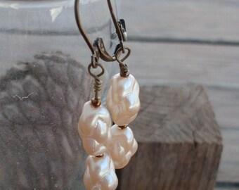 Vintage Japanese Glass Pearl Bead Earrings on antiqued Brass Lever Backs
