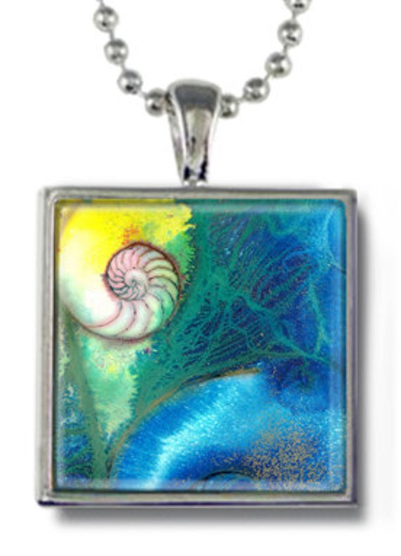 Nautilus Shell, Sea Shell Necklace, Watercolor Art Necklace, Nautilus sea shell necklace with Original Art by Kathy Morton Stanion EBSQ