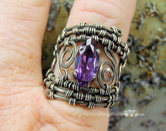 One of a Kind Wire Woven Filigree Ring Fine Silver Alexandrite Lab Created Color Wire Wrapped Hand Crafted Statement Ring June Birthstone