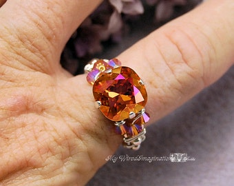Firey Astral Pink Swarovski Crystal Hand Crafted Wire Wrapped Ring Original Signature Design Fine Jewelry Made to Order