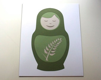 "Matryoshka ""Wheat"" -- Layered Papercut Art 8 x 10"