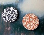 Bohemian Romance Sticker Seals, 20 Scalloped Envelope Stickers, Vintage Style Paper Stickers, Burnt Orange and Black Decorative Design