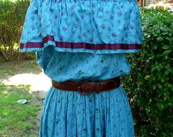 RARE Vintage Parisian bohemian cotton floral maxi dress