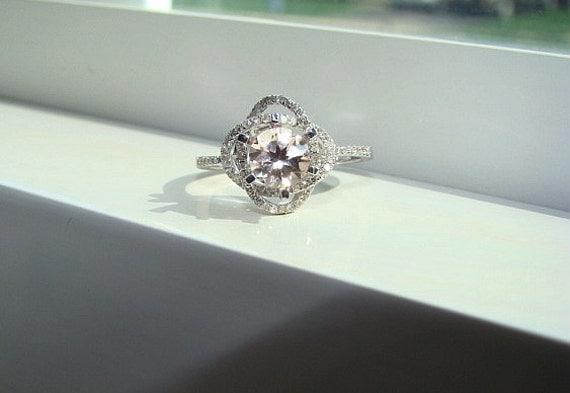 Halo Morganite Diamond Ring Peach Gemstone Engagement Ring Custom Round Double Halo Setting 14K White Gold size