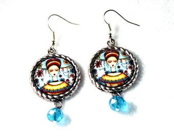 Mexican Dangle Earrings, Frida and Cat Art Print, Upcycled Beads, Day of the Dead Silver Jewelry, Blue Yellow Red