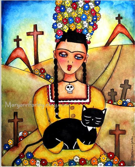 Girl Art Print, Frida Kahlo Mexican Day of the Dead Cat Art, Mixed Media, Religious Sympathy, Mourning, 8 x 10, Yellow Brown Black