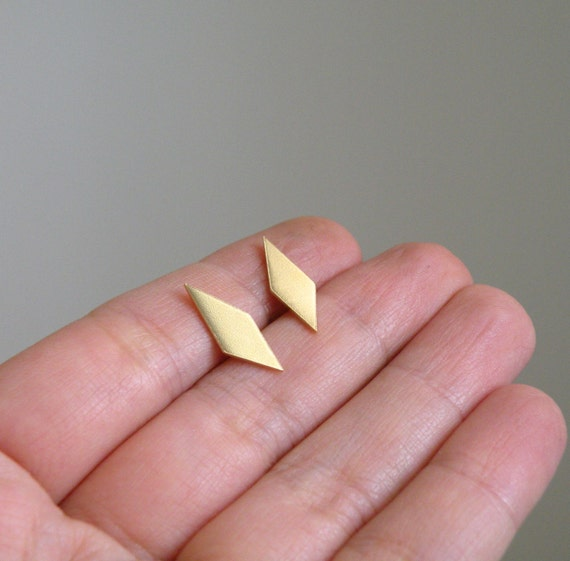Geometric brass stud earrings with sterling silver post - nickel free studs gift for her / gift for sister / gift for friend / gift for BFF