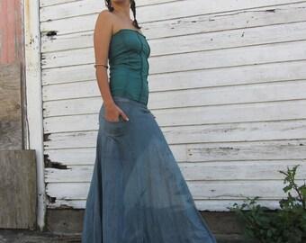 ORGANIC Hemp Women's Perfect Pockets Long Skirt (LIGHT hemp/organic cotton knit) - organic skirt