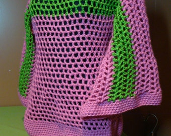 Crochet Pullover - AKA Sorority Colors - Custom Colors Available - pink and Green