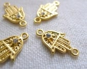 4 Gold Plated CLEAR, Mini Hand Connectors with Crystals