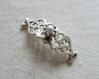 Faux Pearl Fretwork Bar Connector, Silver Plated