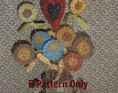 E-Pattern Wool Flower Bouquet FolkArt Primitive Heart Applique PDF