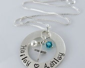 Custom Listing - Keepsake Name and Cross Necklace