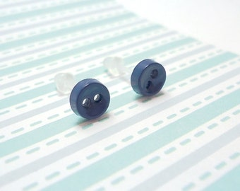 Navy Blue Stud Earrings Dark Denim Color Mini Buttons Metal Free Acrylic Posts Hypoallergenic Posts Sensitive Ears Little Kawaii Zero Metal