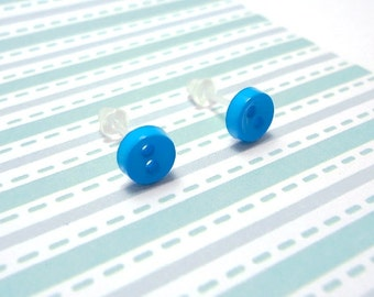 Simply Blue Stud Earrings Mini Buttons Metal Free Acrylic Posts Hypoallergenic Posts Sensitive Ears Kawaii Little Earrings 5.5mm Zero Metal
